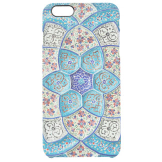 Traditional Moroccan turquoise Blue, white, salmon Clear iPhone 6 Plus Case
