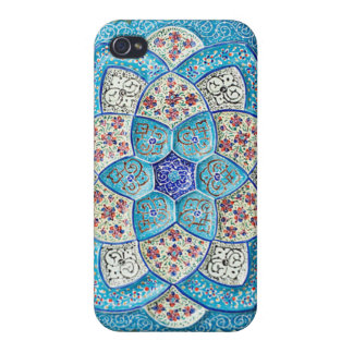 Traditional Moroccan turquoise Blue, white, salmon iPhone 4 Case