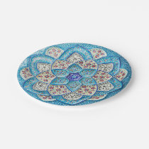 Traditional Moroccan turquoise Blue, white, salmon Paper Plate
