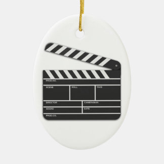 Traditional Movie Clapper-Board Ceramic Ornament