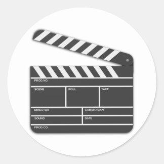Traditional Movie Clapper-Board Classic Round Sticker