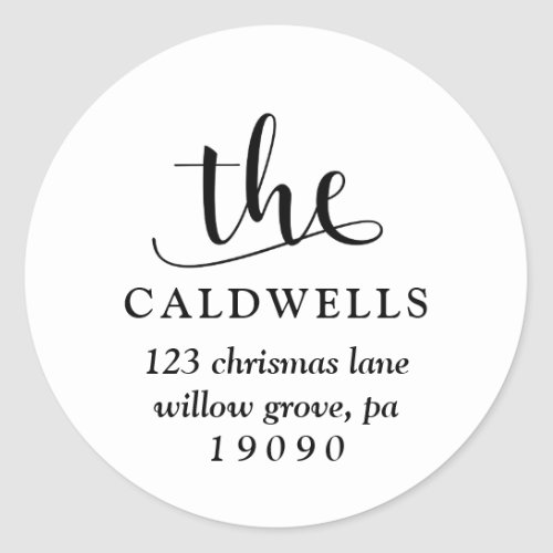 Traditional Name Calligraphy White Return Address Classic Round Sticker