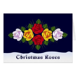 Traditional narrowboat roses Christmas Card