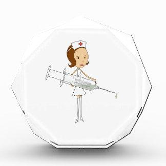 Traditional Nurse with Comically Oversized Syringe Acrylic Award