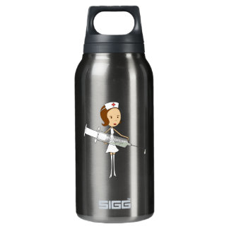 Traditional Nurse with Comically Oversized Syringe Insulated Water Bottle