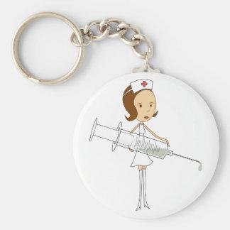 Traditional Nurse with Comically Oversized Syringe Keychain