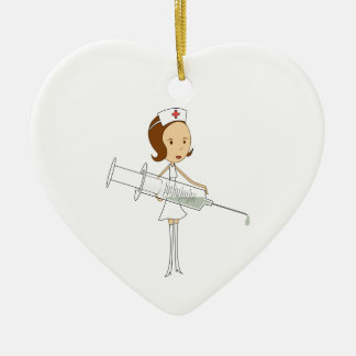 Traditional Nurse with Comically Oversized Syringe Christmas Tree Ornaments