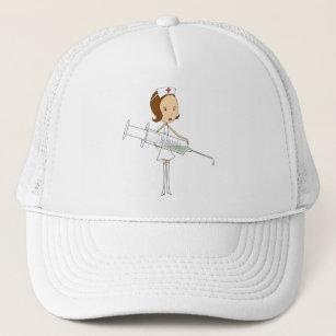 8846e708 Traditional Nurse with Comically Oversized Syringe Trucker Hat