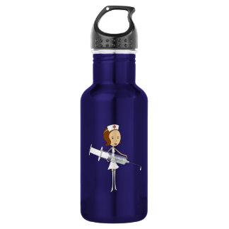 Traditional Nurse with Comically Oversized Syringe Water Bottle