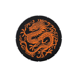 Traditional Orange and Black Chinese Dragon Circle Jelly Belly Tins