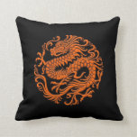 Traditional Orange and Black Chinese Dragon Circle Throw Pillow