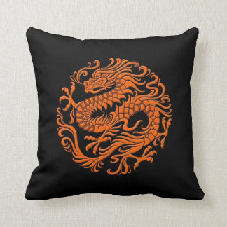 Traditional Orange and Black Chinese Dragon Circle Throw Pillow