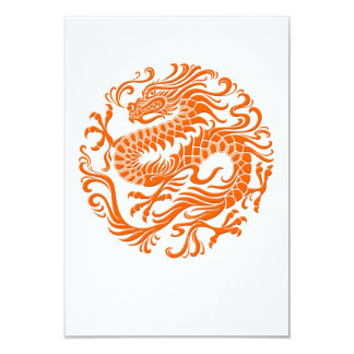 Traditional Orange Chinese Dragon Circle Card