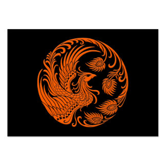 Traditional Orange Phoenix Circle Large Business Cards (Pack Of 100)