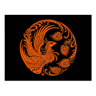 Traditional Orange Phoenix Circle Postcard