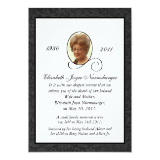 Death invitations announcements zazzle traditional photo death announcement card stopboris Image collections
