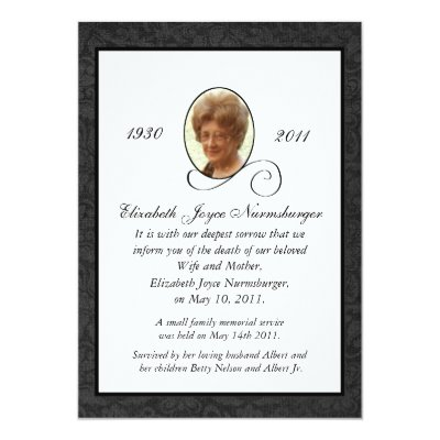 Traditional Death Announcement Card | Zazzle