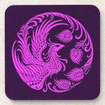 Traditional Pink and Purple Phoenix Circle Coaster