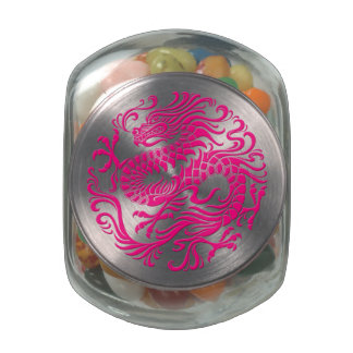 Traditional Pink Chinese Dragon Circle Jelly Belly Candy Jar