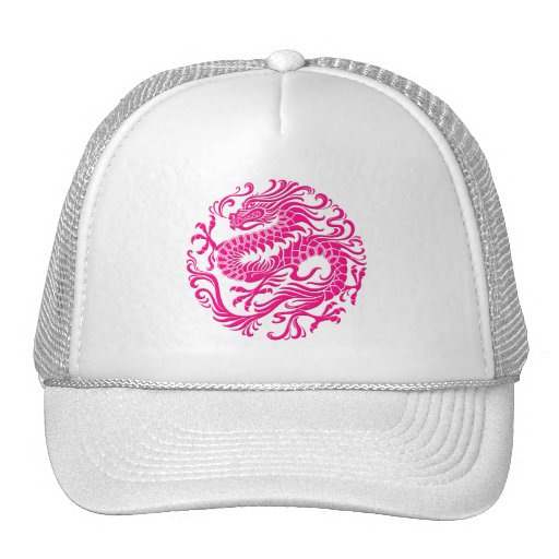 Traditional Pink Chinese Dragon Circle Trucker Hats