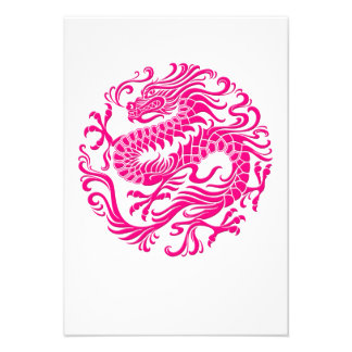 Traditional Pink Chinese Dragon Circle Announcement