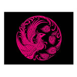 Traditional Pink Phoenix Circle on Black Postcard