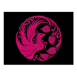 Traditional Pink Phoenix Circle on Black Postcard