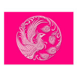 Traditional Pink Phoenix Circle Post Cards