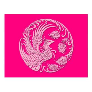 Traditional Pink Phoenix Circle Postcard