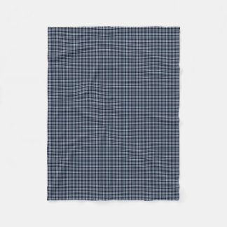 Traditional Plaid Black White and Blue Fleece Blanket