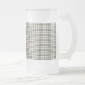 Traditional Plaid Green Yellow and White Frosted Glass Beer Mug