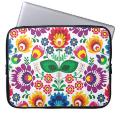 Traditional Polish Floral Folk Embroidery Pattern Laptop Sleeve at Zazzle