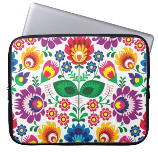 Traditional Polish floral folk embroidery pattern Laptop Sleeve