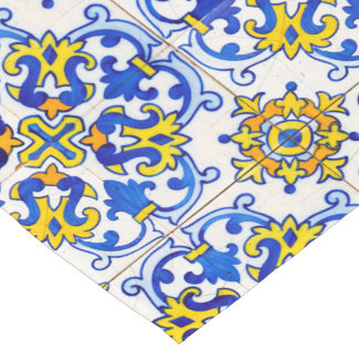 Traditional Portuguese Azulejo Pattern Long Table Runner