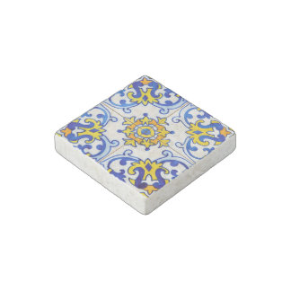Traditional Portuguese Azulejo Pattern Stone Magnet