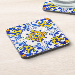 """Traditional Portuguese Azulejo tile Coaster<br><div class=""""desc"""">Azulejo is a form of Portuguese or Spanish painted,  tin-glazed,  ceramic tilework. It has become a typical aspect of Portuguese culture. Portugal imported azulejo tiles from Spain,  and their use was widespread in religious and private architecture,  particularly on facades.</div>"""