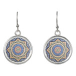 Traditional Portuguese Azulejo Tile Pattern Earrings
