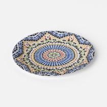 Traditional Portuguese Azulejo Tile Pattern Paper Plate
