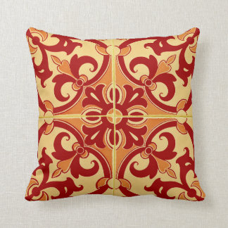Traditional Portuguese Azulejo Tile   red sand Throw Pillow