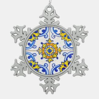 Traditional Portuguese Azulejo tile Snowflake Pewter Christmas Ornament