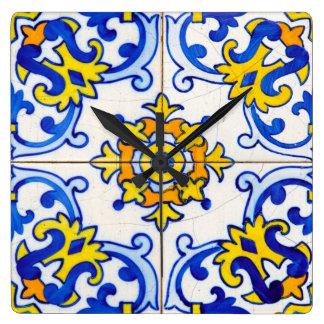Traditional Portuguese Azulejo tile Square Wall Clock
