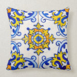 "Traditional Portuguese Azulejo tile Throw Pillow<br><div class=""desc"">Azulejo is a form of Portuguese or Spanish painted,  tin-glazed,  ceramic tilework. It has become a typical aspect of Portuguese culture. Portugal imported azulejo tiles from Spain,  and their use was widespread in religious and private architecture,  particularly on facades.</div>"