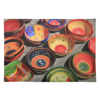 Traditional pottery on a local market cloth place mat