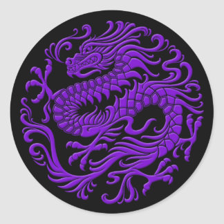 Traditional Purple and Black Chinese Dragon Circle Classic Round Sticker