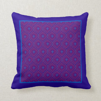 Traditional Purple and Bright Blue Ogee Pattern Throw Pillow