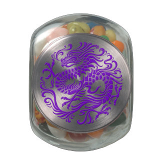 Traditional Purple Chinese Dragon Circle Glass Jars