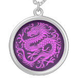 Traditional Purple Chinese Dragon Circle Round Pendant Necklace