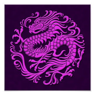 Traditional Purple Chinese Dragon Circle Poster