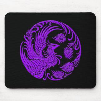 Traditional Purple Phoenix Circle on Black Mouse Pad
