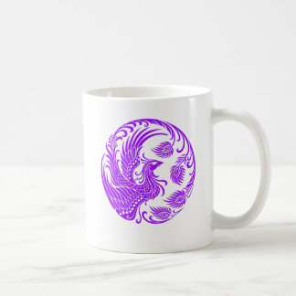 Traditional Purple Phoenix Circle on Red Mugs